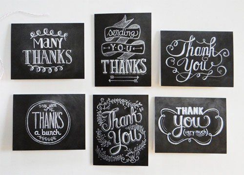 hand lettered chalkboard thank you cards lily val craft