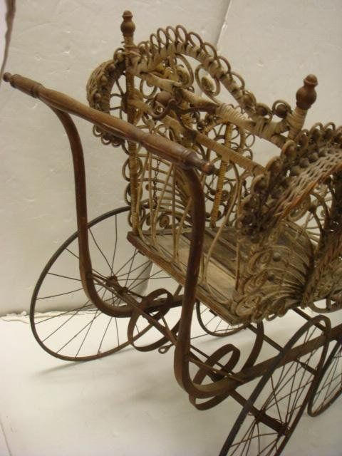 victorian baby buggy | 456: FRANCIS L HUGHES Victorian Wicker Baby Carriage: : Lot 456