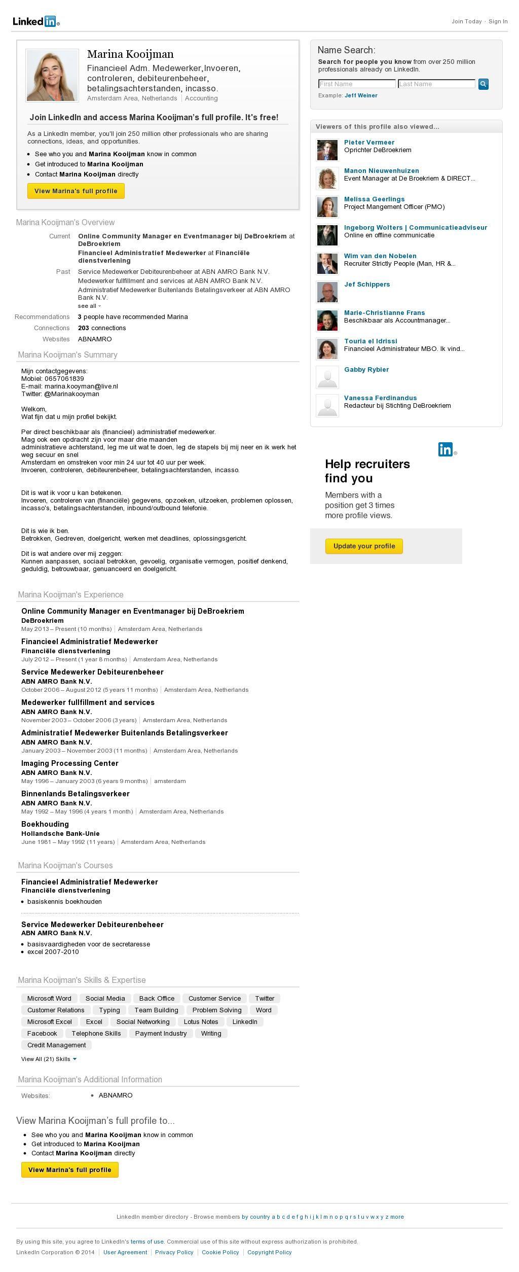 sollicitatie website The website '.linkedin.com/in/marinakooijman' courtesy of  sollicitatie website