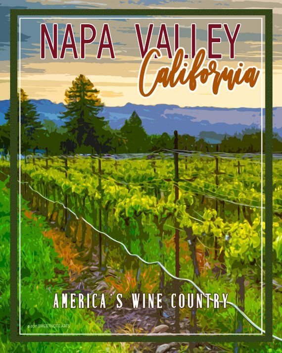 Vintage-Style Watercolor Poster of Napa Valley, California