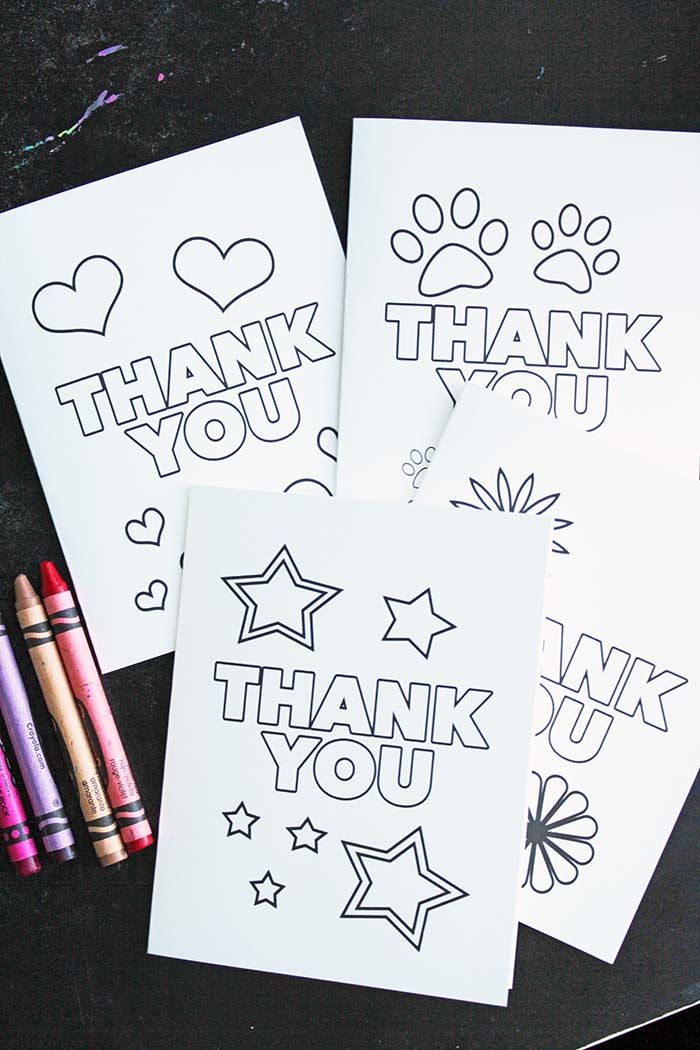 Free Printable Thank You Cards For Kids To Color Send Thank You Cards From Kids Printable Coloring Cards Printable Thank You Cards