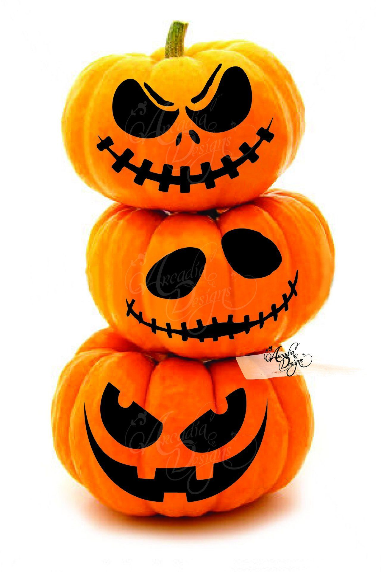 Halloween Scary Jack O Lantern Face Pumpkin Carving Pattern ...