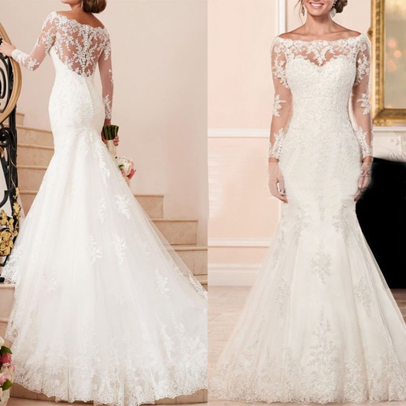 Vestidos De Noiva Lace Wedding Dresses Boat Neck Long Sleeve Button Applique Sweep Tra Backless Lace Wedding Dress Wedding Dress Fabrics Maternity Bridal Dress