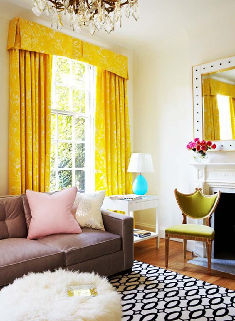 bright yellow curtains, furry pouf, geometric rug, shield-back chair ...