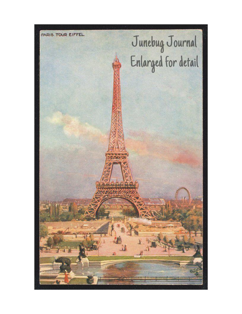 Vintage Paris Postcard Printable Eiffel Tower *DIGITAL