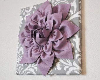 Wall Art SET of THREE Lilac Dahlia on Gray and White by bedbuggs ...