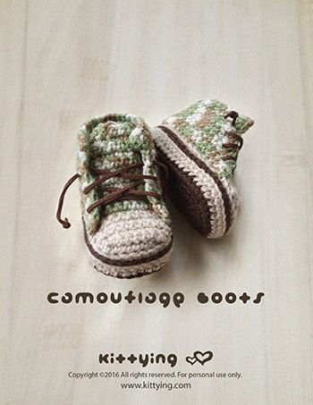 Crochet Pattern Baby Booties Camouflage Baby Boots Baby Sneakers ...