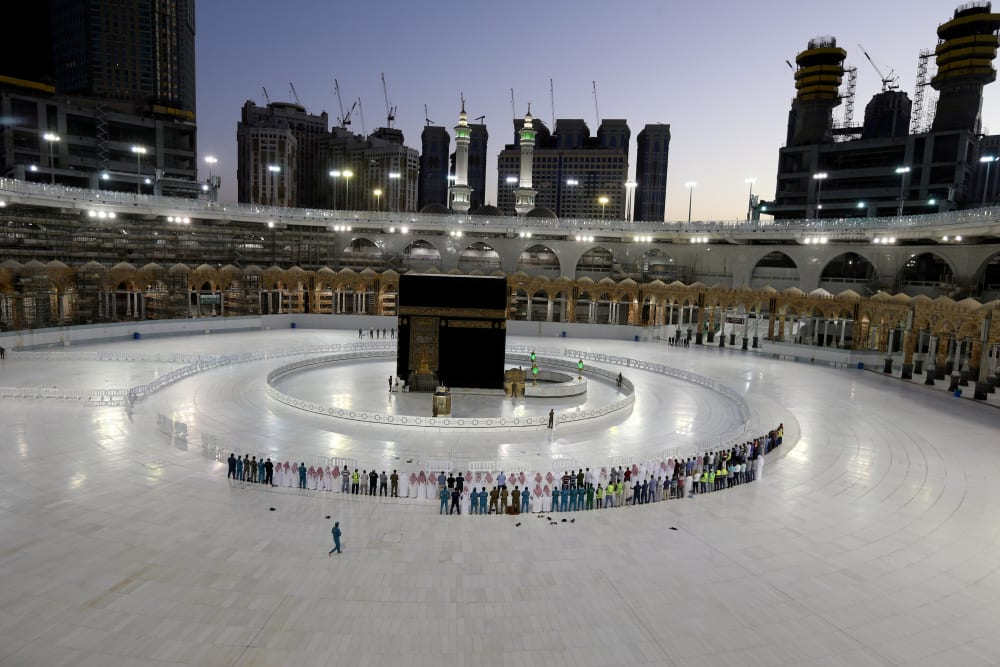 הכעבה במכה ריקה בתפילות היום הראשון לרמדאן Mecca Pilgrimage To Mecca Grand Mosque