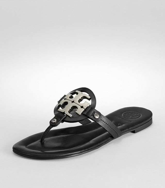 Tory Burch Miller 2 Black Leather Silver Logo Thong Sandals 9 $119