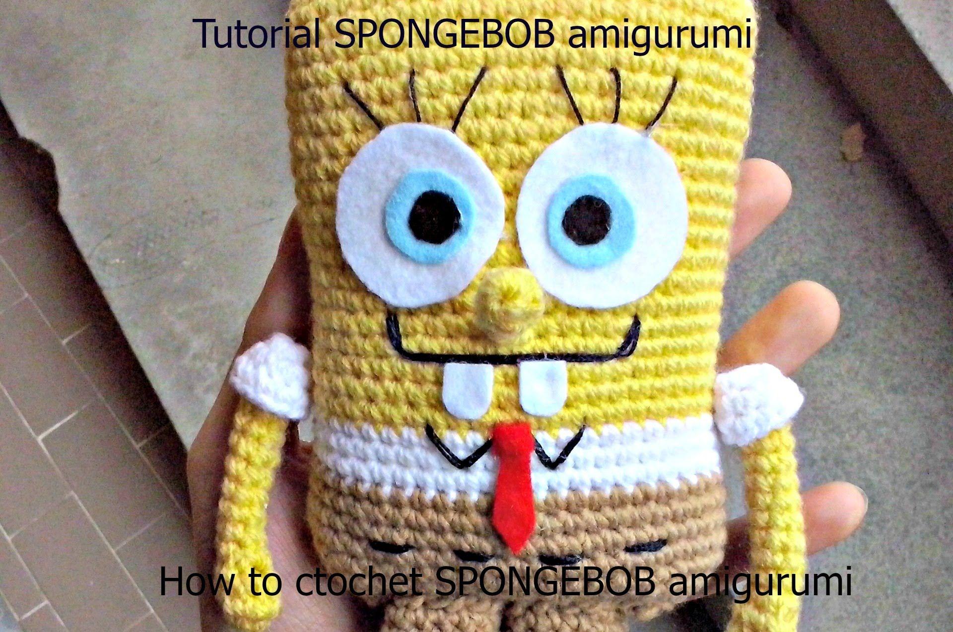 Tutorial SPONGEBOB amigurumi   HOW TO CROCHET SPONGEBOB AMIGURUMI ...