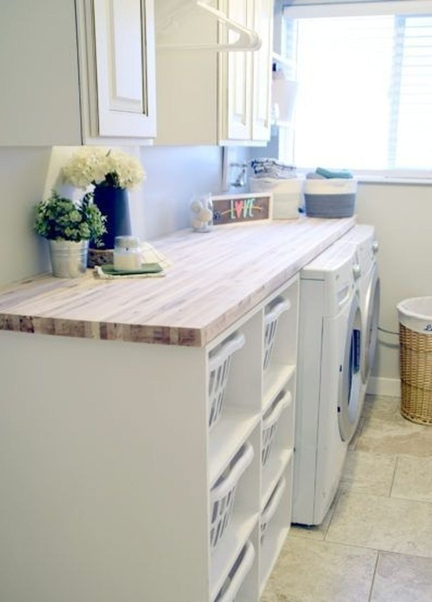 35 Best Laundry Room Decorating Ideas For Small Space Homiku Com Laundry Basket Shelves Laundry Room Baskets Laundry Room Countertop