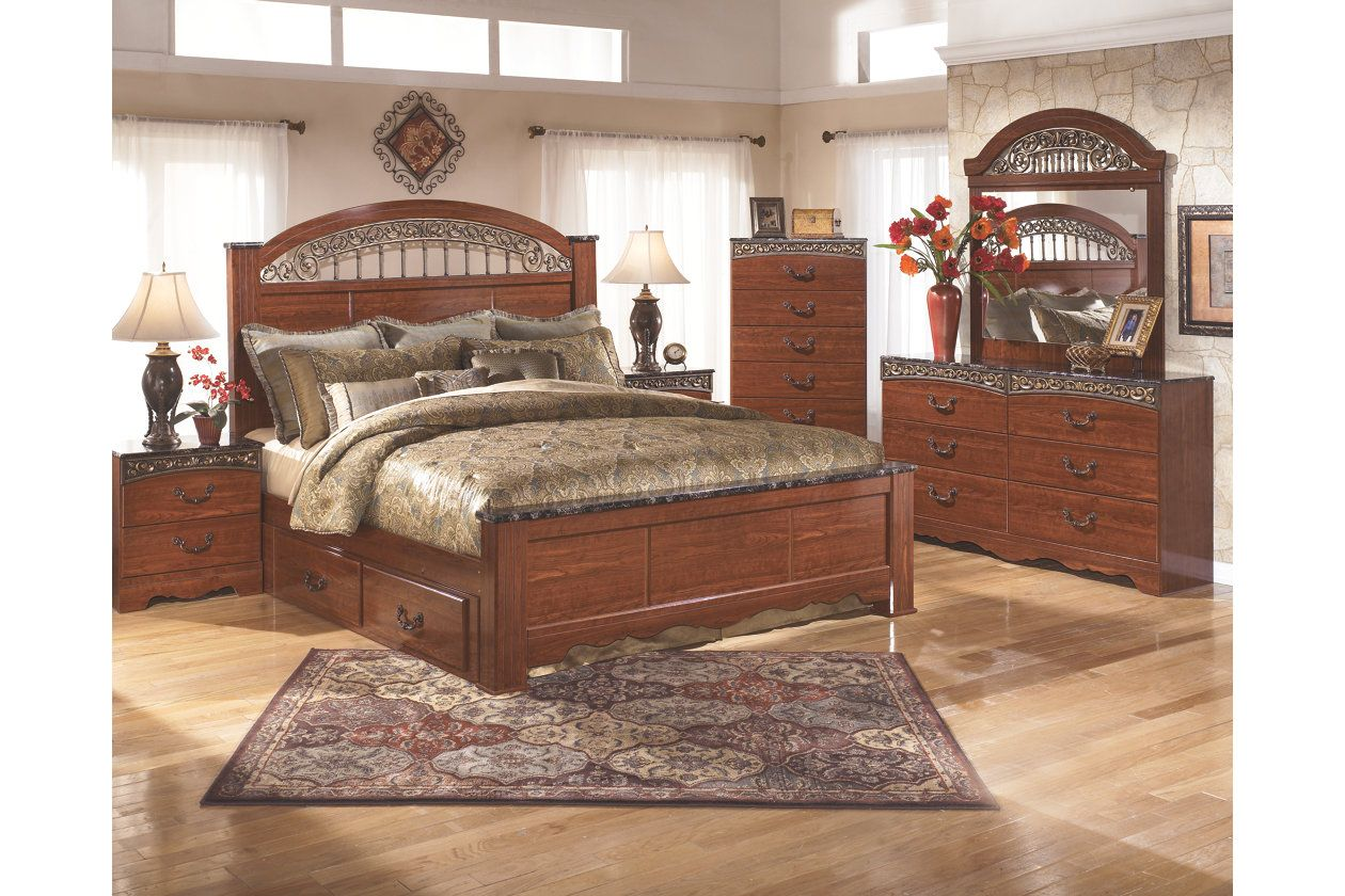 Fairbrooks Estate King Poster Bed With 2 Storages Bedroom