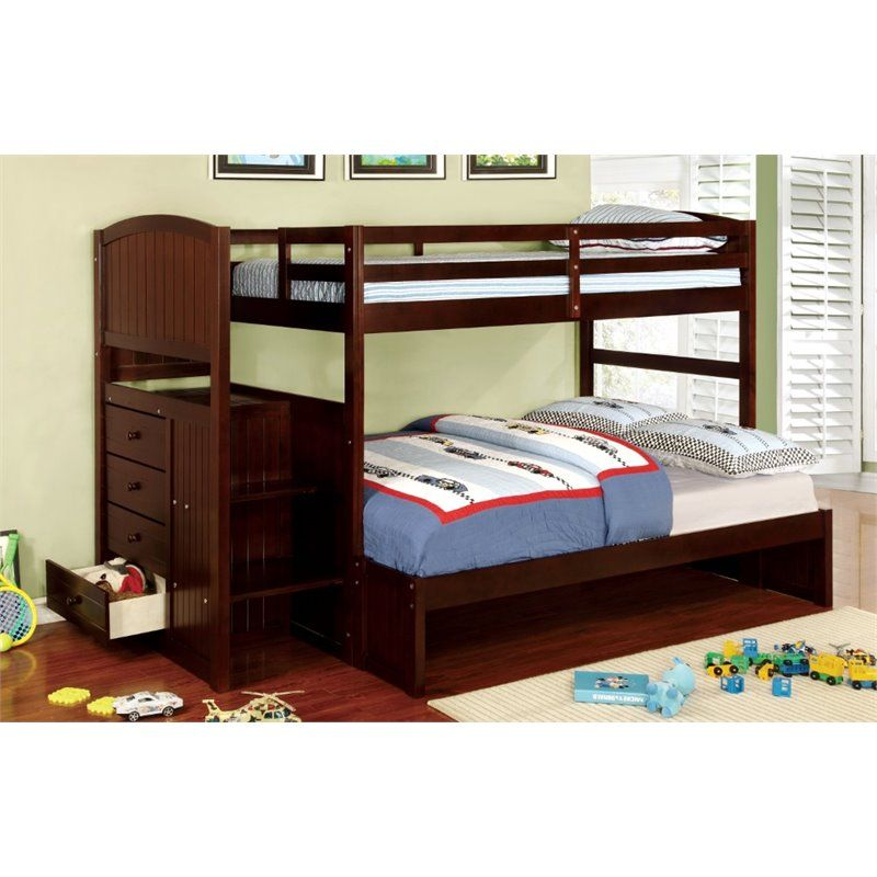 Furniture of America Atkinson Twin over Full Bunk Bed with Steps