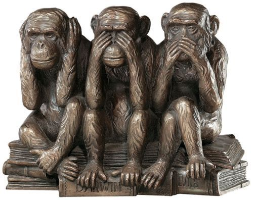 Three Truths of Man Monkey Hear See Speak No Evil Victorian Replica Statue