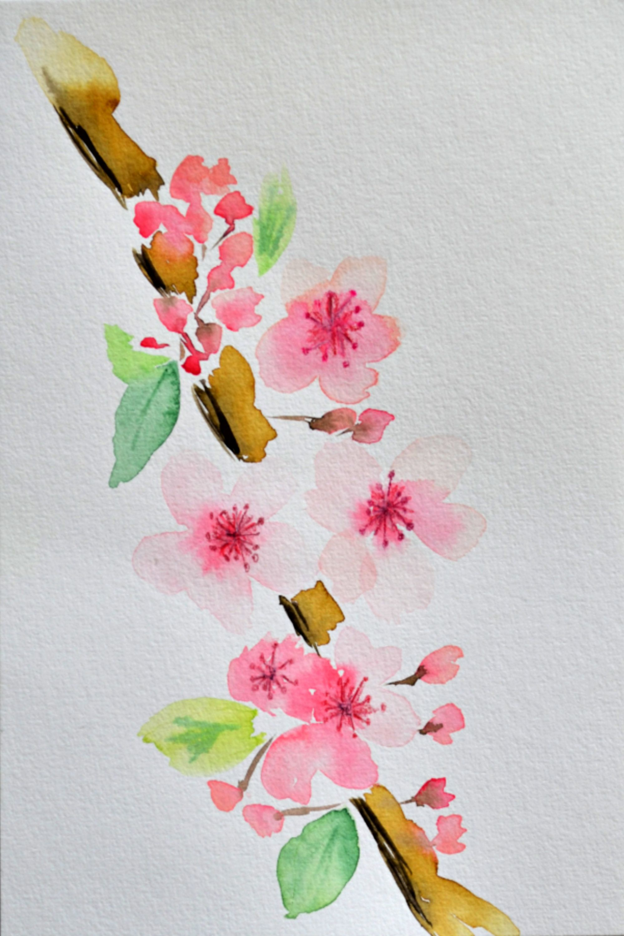 Cherry Blossoms Watercolor Painting Pink Flowers Wall Art