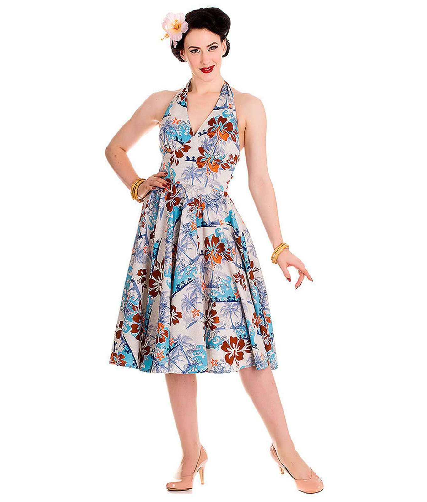 8c7630165ba Found on the Tiger Milly website.Hell Bunny 50s Vintage Style Hawaiian Tiki  Halterneck Dress