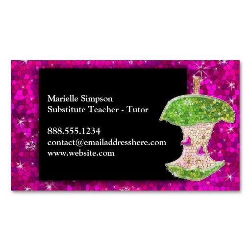 Hot Pink Glitter Apple Substitute Teacher Tutor Business Card - Substitute teacher business card template
