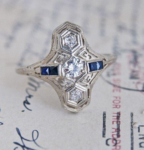 Diamond Row and Sapphire Dash Engagement Ring. $2400