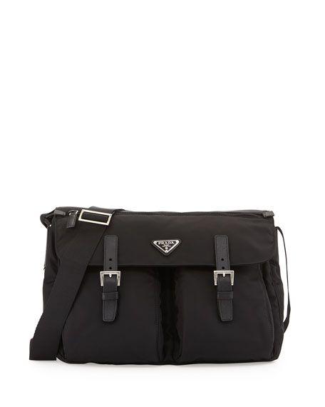 68a6e727c629 PRADA Vela Buckled Messenger Bag, Black (Nero). #prada #bags #shoulder bags  #leather #nylon #crossbody #lining #