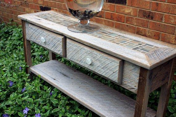 Gray Wood Rustic Sofa Table Mosaic Tile Sofa Table Reclaimed Console Table Desert Beach 45 L X 12 1 8 D X 30 T Natural Finish Rustic Sofa Rustic Sofa Tables Grey Wood