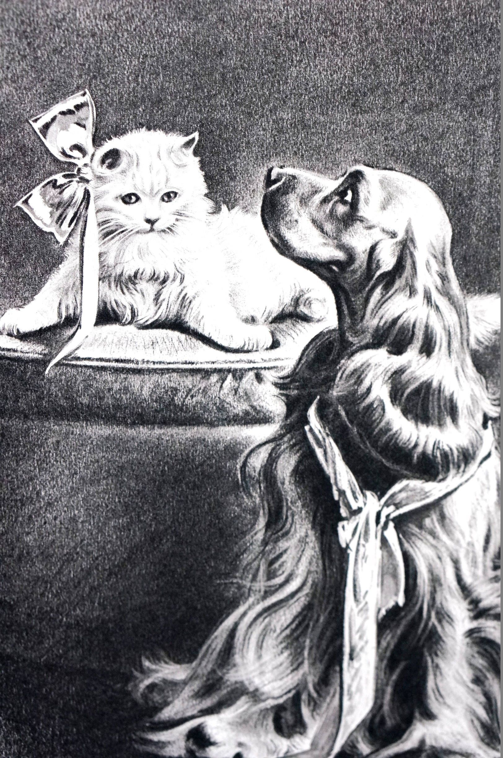 Morgan Dennis COCKER SPANIEL and White KITTEN Cat w Bow 1946 Fine Quality Professionally Matted  Dog Print Ready to Frame Wall Art by AllThingsBrooklyn on Etsy