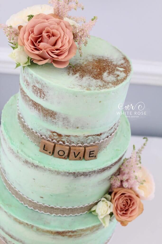 Mint And Peach Wedding Cake Three Tier Semi With Flowers At Durker Roods Hotel By White Rose Design Bespoke C