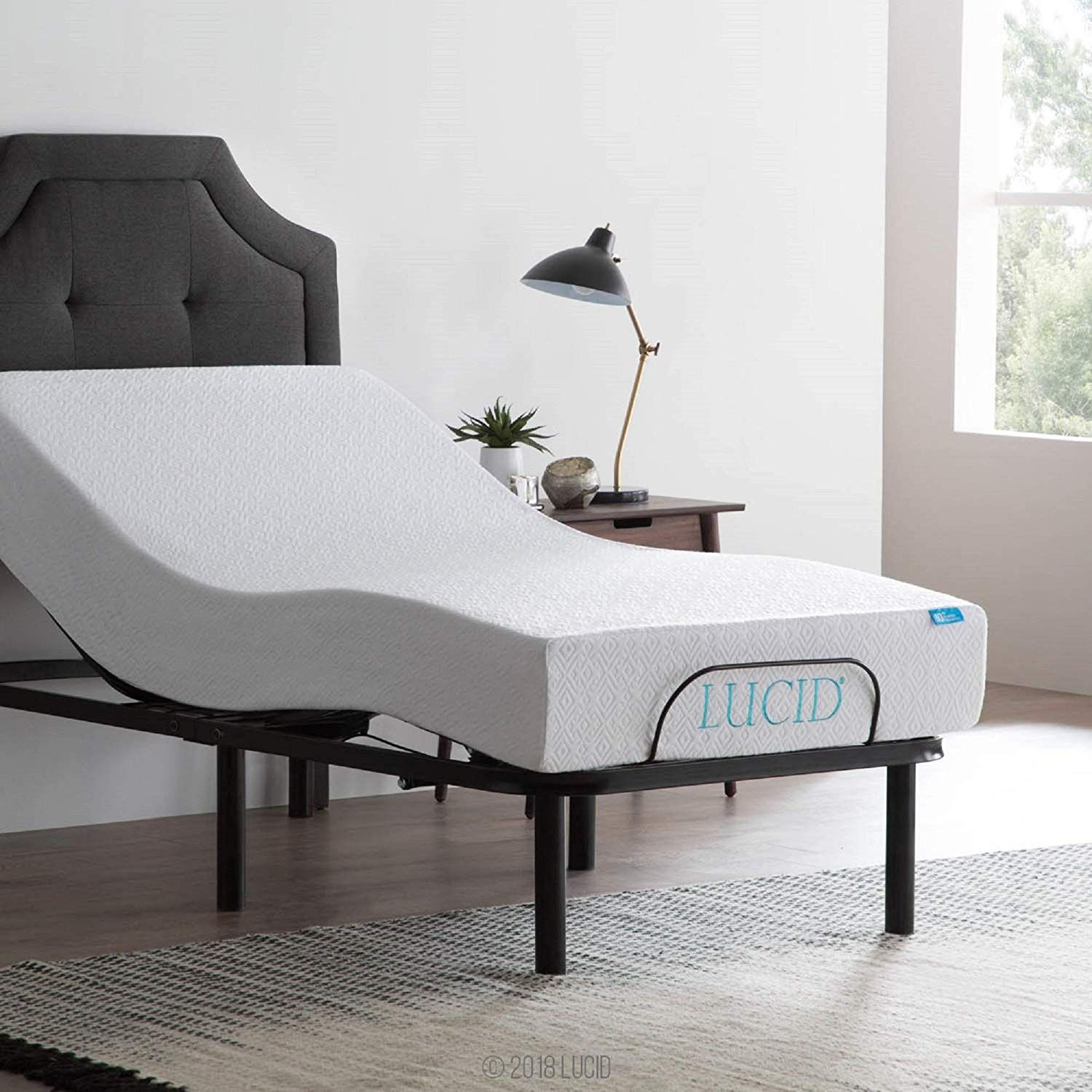 Lucid L100 Adjustable Bed Base With Lucid 10 Inch Gel Memory Foam Adjustable Bed Base Adjustable Beds Bed Base
