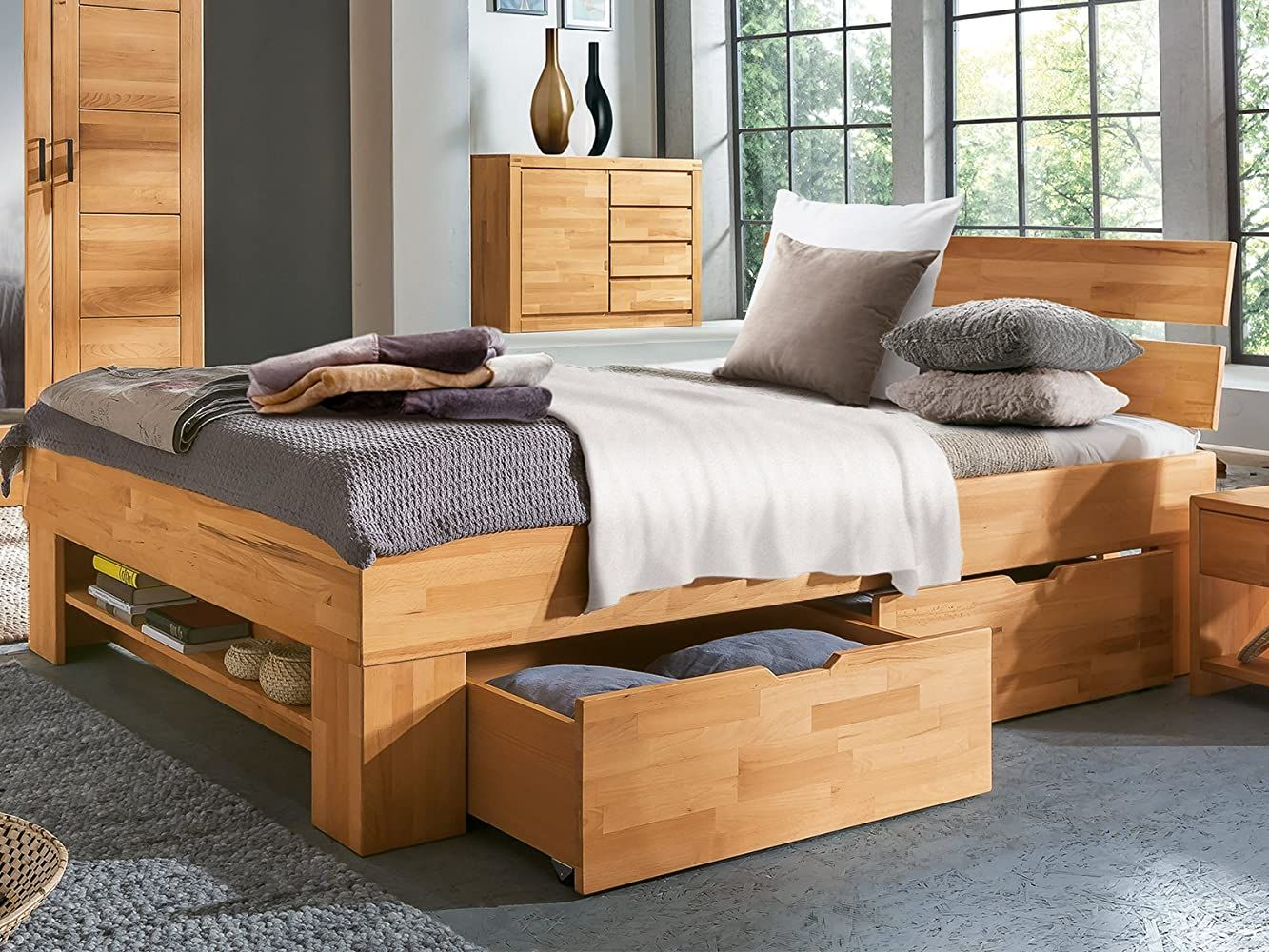 Bett Bettgestell Einzelbett Doppelbett Bettrahmen Ehebett Massivholz
