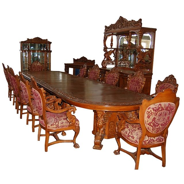 Victorian Dining Room Sets: Spectacular 16-Pc. Quarter-Sawn Oak Heavily Carved
