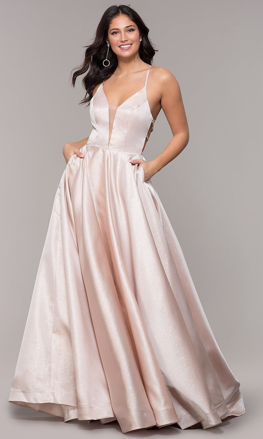 Open Back Long A Line Prom Dress With Pockets A Line Prom Dresses Prom Dresses With Pockets Backless Prom Dresses
