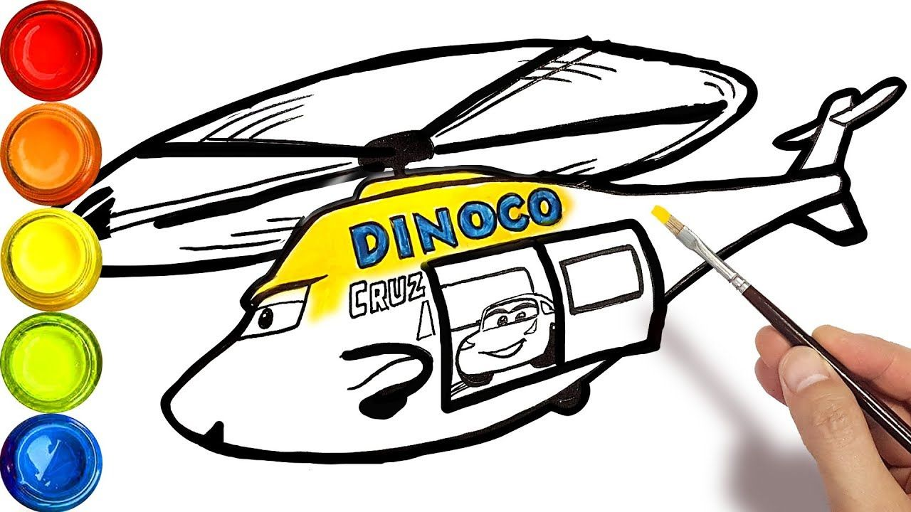 Draw A Helicopter Dinoco Cruz For Kids After Cars 3 Coloring