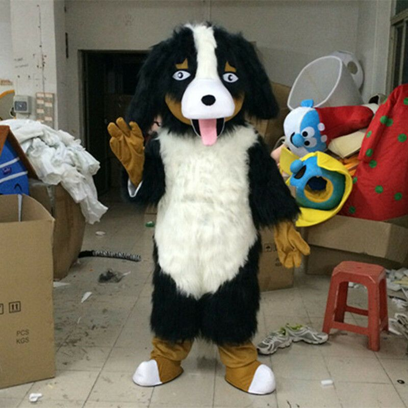 Long Fur Dog Mascot Costume Suit Animal Dress Cosplay Party Suit