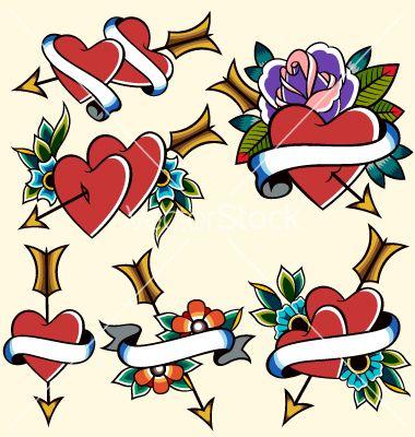 classic vintage heart tattoo vector art download classic vectors rh pinterest com vintage mom heart tattoo vintage heart lock tattoo