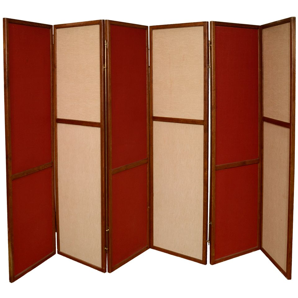 Large Scale Solid Oak Framed 6 Panel Screen #red (via 1stdibs)