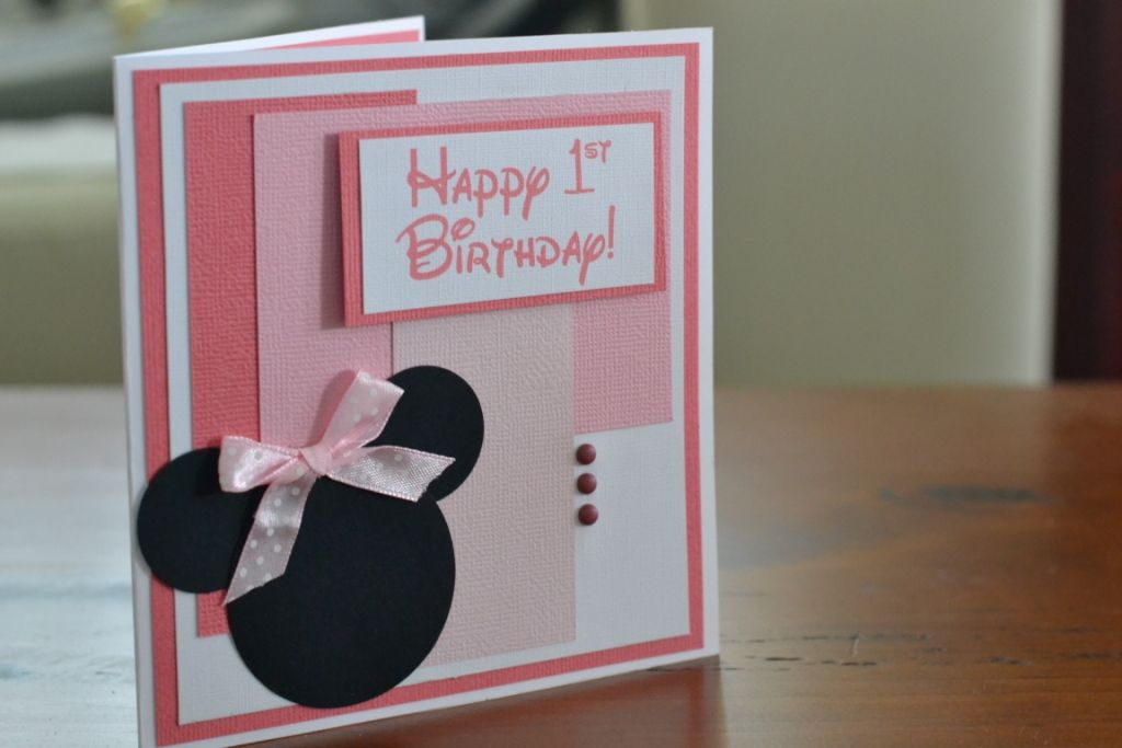 Little Girl Birthday Card - Minnie Mouse
