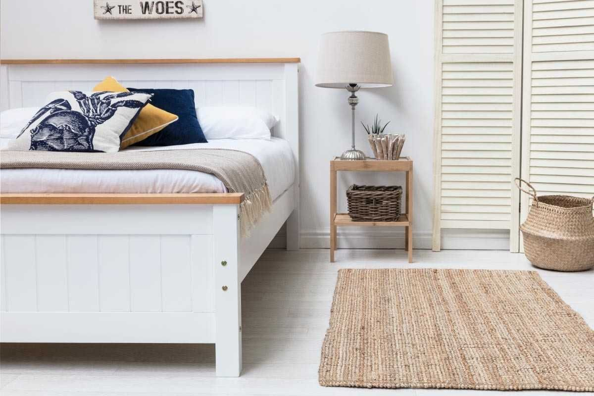 Rostherne White Wooden Bed Frame Single Double King Size
