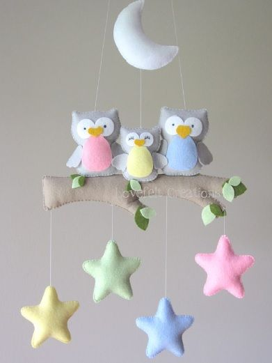 Pin By Boucher On Vilt Owl Mobile Baby Crafts Baby Crib Mobile