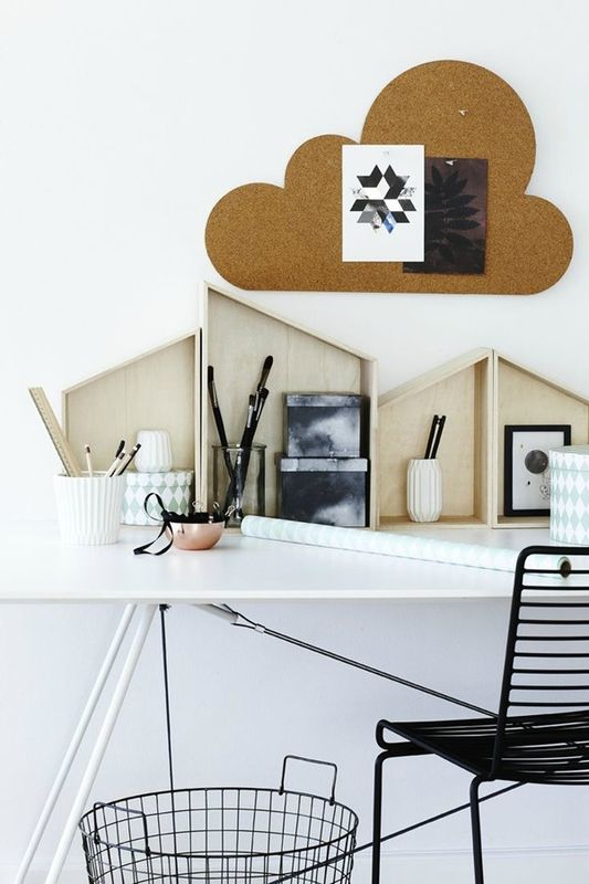 Cloud Cork Board And House Shaped Shelves.