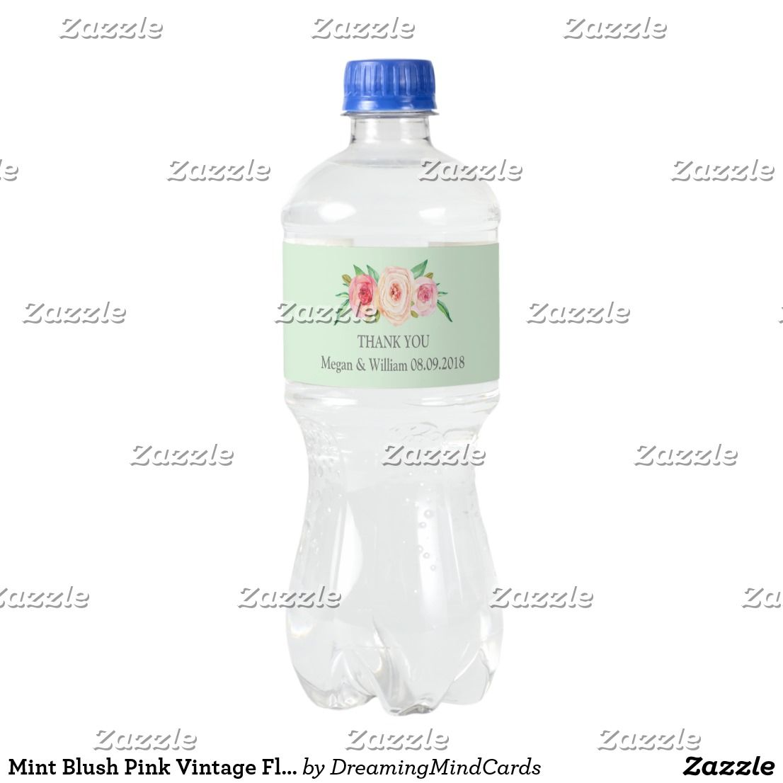 Mint Blush Pink Vintage Floral Water Bottle Label Custom text ...