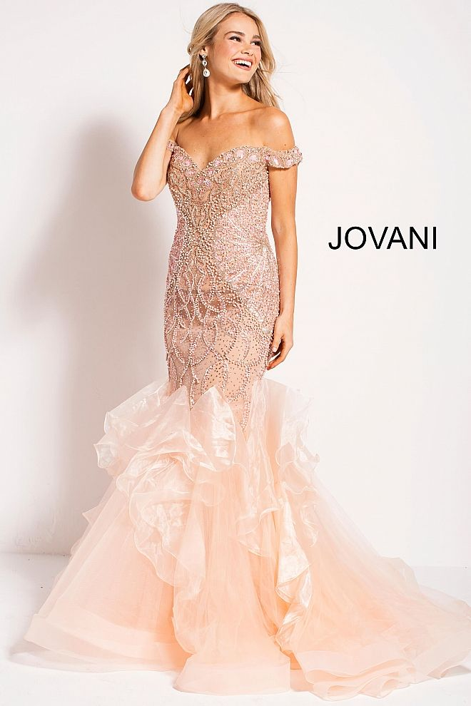 JOVANI 2018 | Blush Embellished Off the Shoulder Sweetheart Neck ...