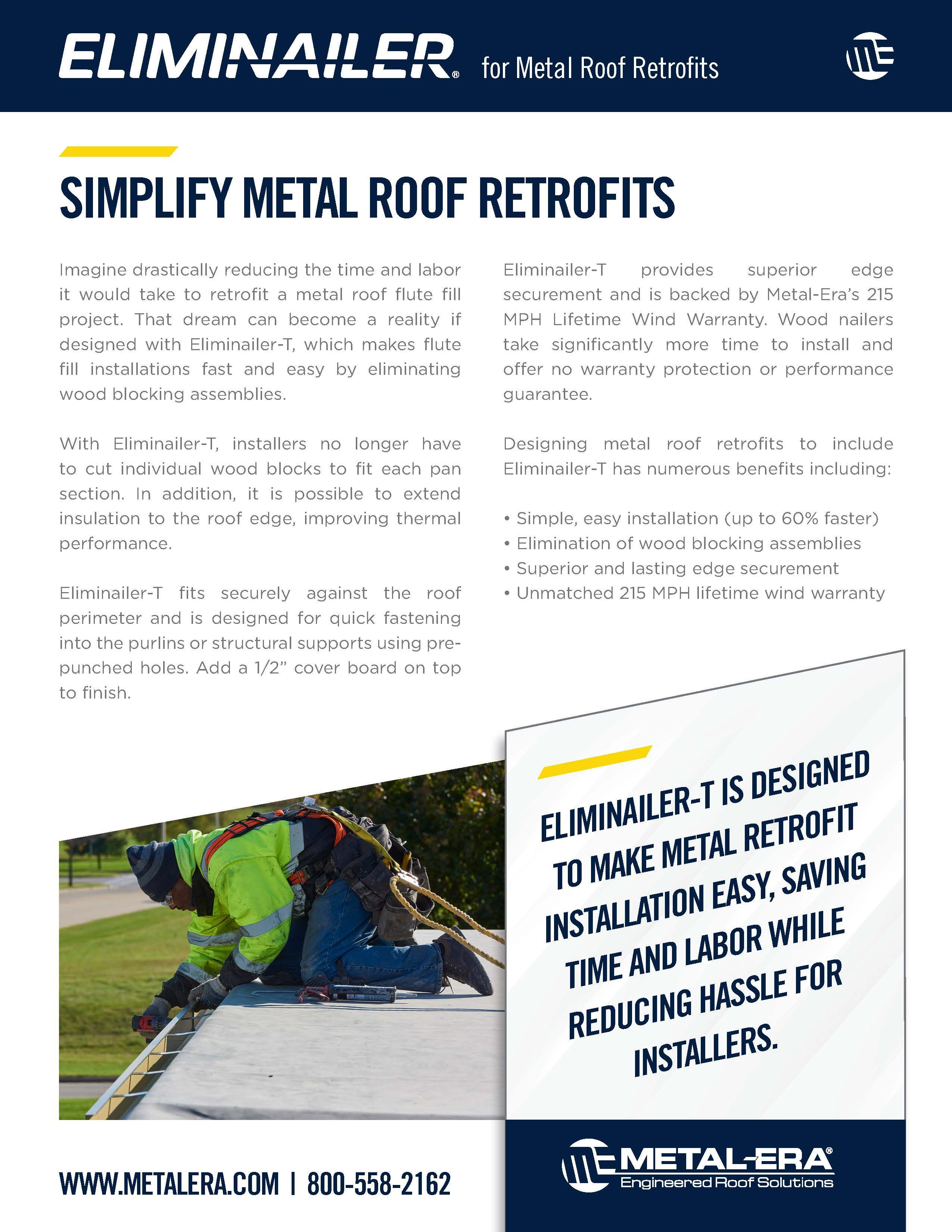 Eliminailer Metal Retrofit Sell Sheet In 2020 Roofing Systems How To Become Metal Roof