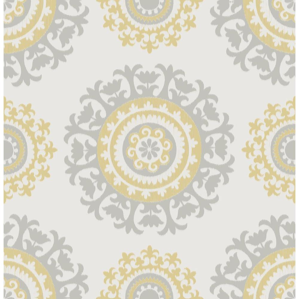 Wallpops 30 75 Sq Ft Grey And Yellow Suzani Peel And Stick Wallpaper Nu1652 The Home Depot Nuwallpaper Suzani Peel And Stick Wallpaper