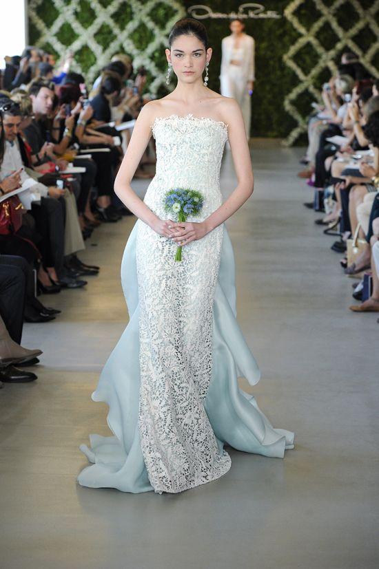 Oscar De La Renta Blue Crochet Overlay Wedding Dress