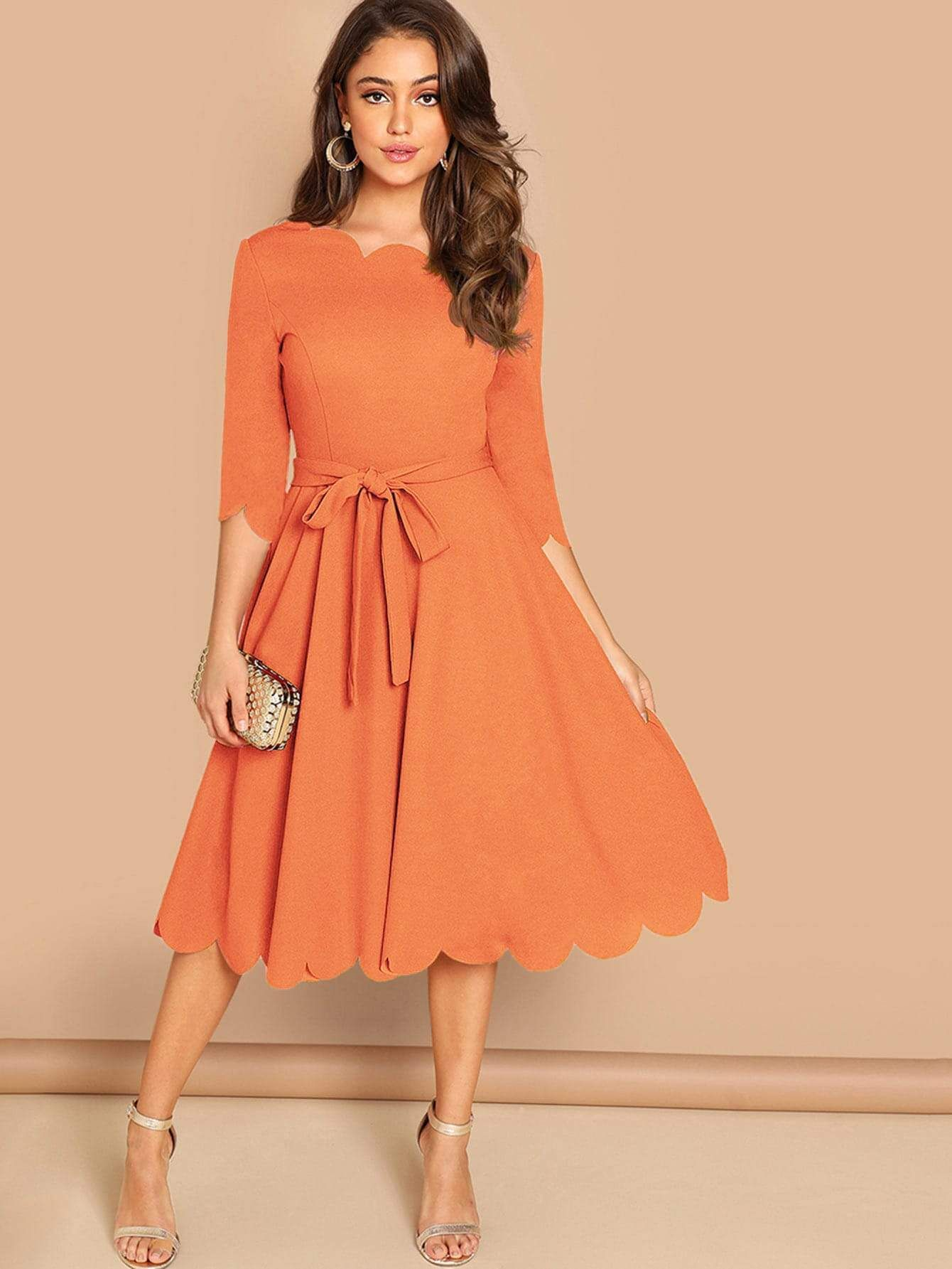 Round Neck 3//4 Sleeve Scallop Belted A Line Fit and Flare Dress Casual Work