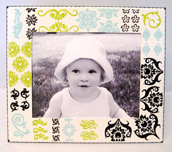 8x10 Painted Wood Picture Frame Lime Black Aqua White Patchwork