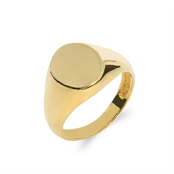 14k solid gold signet ring engravable ring mens pinkie ring