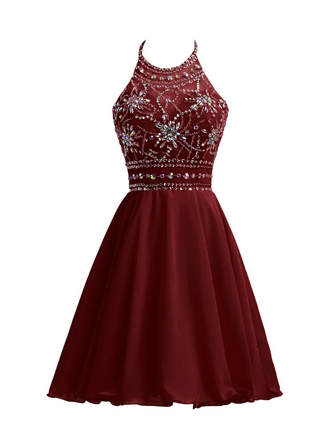 e9a2c370a8e5 Amazon.com: Belle House Short Chiffon Homecoming Dresses For Juniors Halter  Prom Party Gowns: Clothing