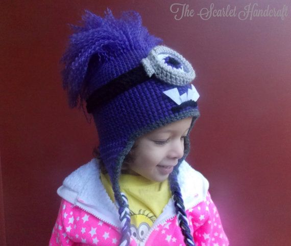 Purple Minion Crochet Hat. Despicable Me by TheScarletHandCraft ...