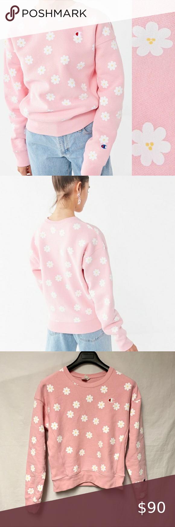 Rare Champion X Urban Outfitters Daisy Sweatshirt In 2021 Sherpa Lined Denim Jacket Daisy Sweatshirt Grey Cropped Hoodie [ 1740 x 580 Pixel ]