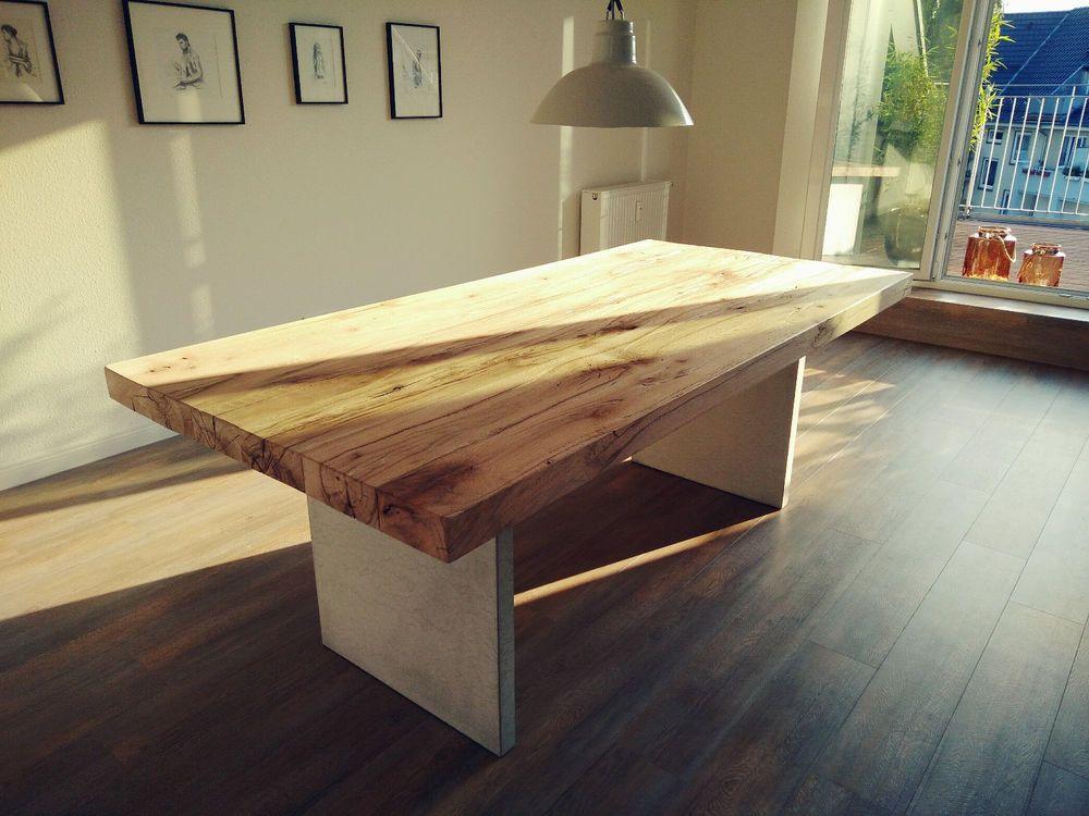 betontisch esstisch tisch massivholztisch alte eiche altholz 210x100x77cm in mabel selbst bauen